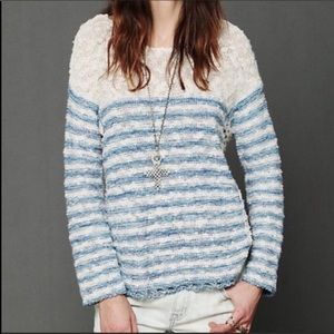 Free People Crochet In Striped Pullover Sweater XS